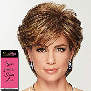 Gratitude Wig Color Brown Blonde - Gabor Wigs Short Layered Cut Heat Friendly Synthetic Volume at Crown Side Bang Comfort Cap Bundle MaxWigs Hairloss Booklet