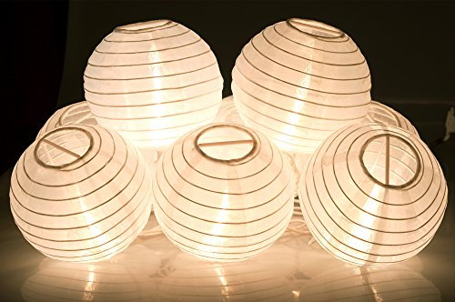 KI Store Lantern String Lights Set of 10 Extendable Plug-in Oriental Style Lanterns with Lights for Weddings Parties Bedroom Decoration (Plain White)