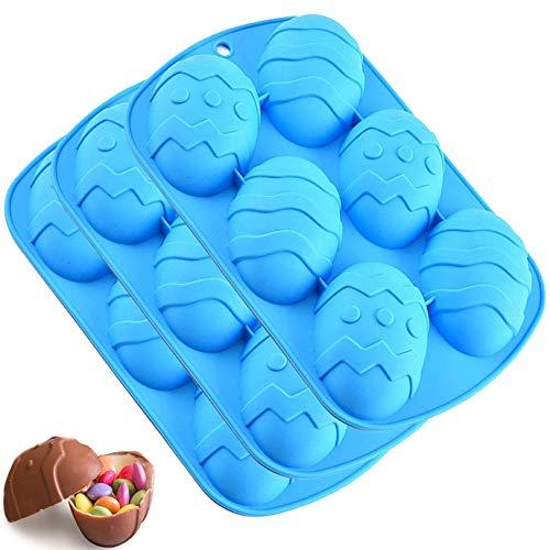 3 pezzi Stampo per uova di Pasqua grande Stampo per cioccolato in silicone per uova Grande uovo di Pasqua per bombe di cacao e gusci di cioccolato per uova fragili - riempire con caramelle - Blu