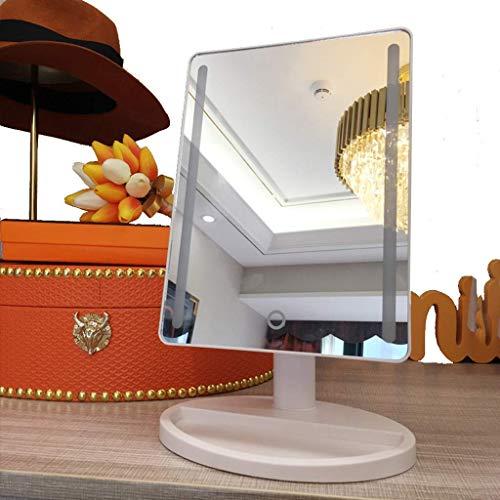 Schminkspiegel, Badezimmerspiegel Beleuchteter Schminkspiegel, 36 LED Kosmetikspiegel mit 1-Fach Vergrößerungsspiegel, Touchscreen-Dimmung, 180 °