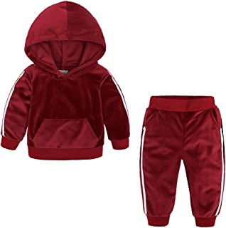 Kids Baby Boy Girl Hooded Outfits Velvet Pocket Sweatshirt Tracksuit Tops Sweatpants Clothes Set