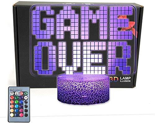 3D Nachtlicht Lampe Game Over Geschenke, mit 16 Farbwechsel und Fernbedienung, Geschenke für Kinder ab 3 4 5 6+ Jahre