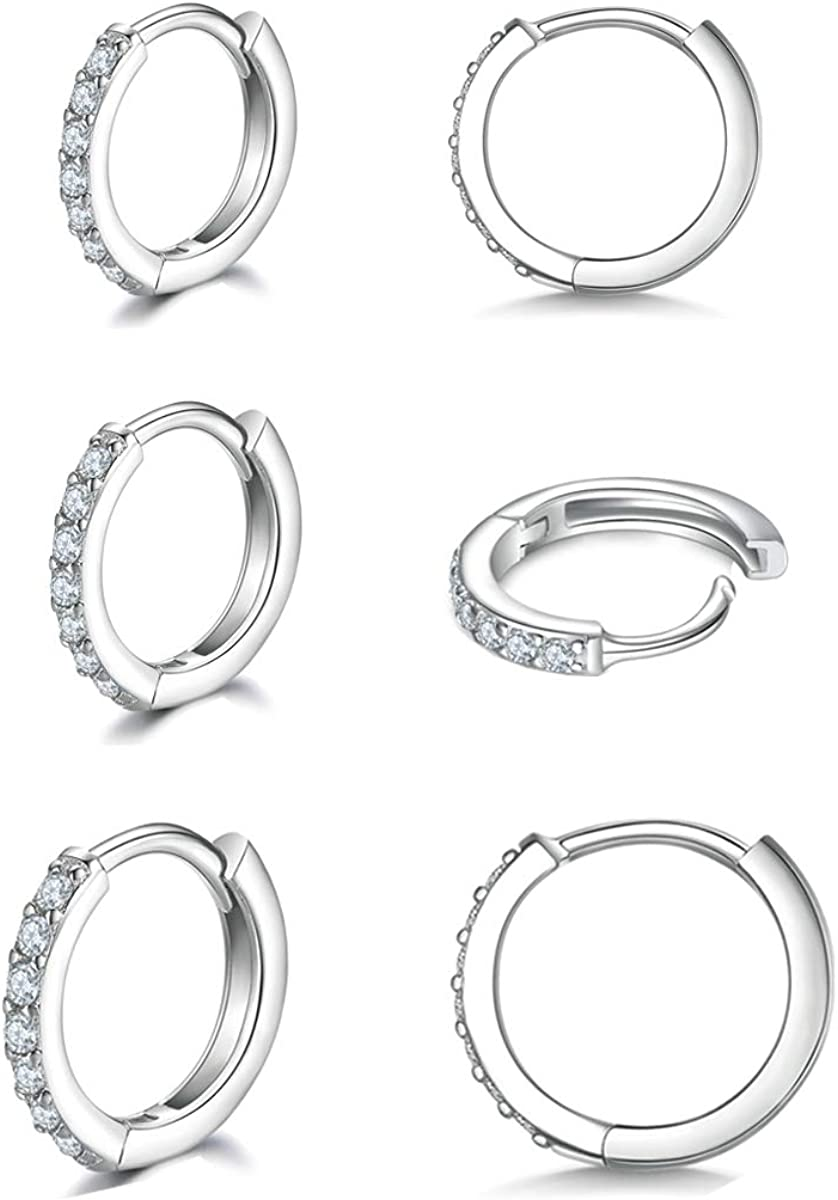 925 Sterling Silver Small Hoop Earrings Discount mail order Max 52% OFF Ho Huggie Zirconia Cubic
