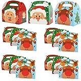 LEZED Scatole Natalizie di Cartone Caramella Sacchetti Scatoline Natalizie Confezioni Regalo Natale Scatola per Regalo Frutta Caramella Dessert per Natale i Regali di Compleanno e Il Partito 15 Pezzi