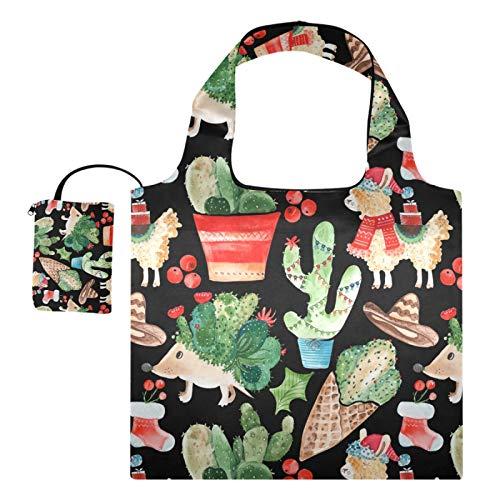 Bolsas reutilizables de la compra – Erizo Llama Cactus Navidad plegable grande, ecológicas, reutilizables, con bolsa