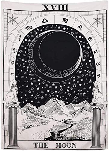 Moon Star Sun Tarot Tapestry  Wall Hanging Medieval Europe Divination White and Black Wall Tapestries bedroom decor