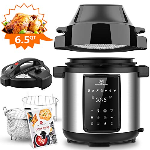 6.5Qt Pressure Cooker & Air Fryer Combos - Steamer Cooker, All-in-One Multi-Cooker with Pressure & Crisping Lid, LED Touchscreen, 1500W Pressure, Air Fryer with 3-Qt Air Fry Basket, Rice Cooker with Free Recipe Book & Accessories