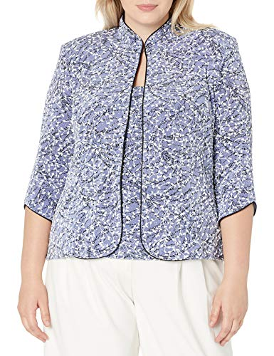 Alex Evenings womens Plus Size Printed Mandarin Neck Twinset Tank Top and Jacket Dress Shirt, Lavender, 2X US