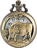 Klassische chinesische Zodiac Theme Cow Case Taschenuhr, Utility Rough Chain Taschenuhren, praktische arabische Ziffern Zifferblatt Anhänger Uhr für Geschenke für Männer Frauen Jungen Weihnachtsgesch