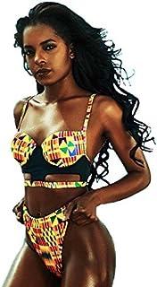 Woman's Ethnic Tribal Kente Print Hallow Cut Out Bikini