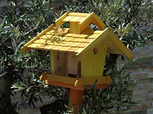 Vogelhaus-futterhaus, BEL-X-VOVIL4-gelb002 Großes PREMIUM Vogelhaus WETTERFEST, QUALITÄTS-SCHREINERARBEIT-aus 100% Vollholz, Holz Futterhaus für Vögel, MIT FUTTERSCHACHT Futtervorrat, Vogelfutter-Station Farbe gelb kräftig sonnengelb goldgelb, MIT TIEFEM WETTERSCHUTZ-DACH für trockenes Futter