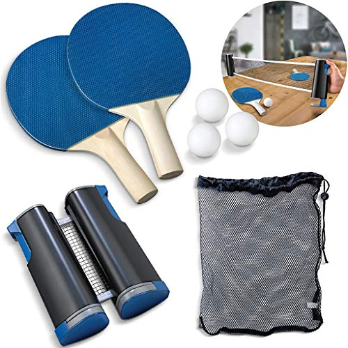 Instant Tischtennis-Set, BZLine Tragbar Ping Pong Set Spiel für Anfänger, Familien und Profis, 2 Tischtennisschläger/Schläger + Ausziehbare Tischtennisnetz + 3 Bälle (A)