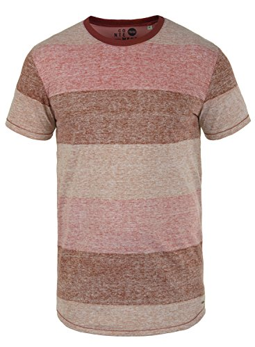 !Solid Teine Herren T-Shirt Kurzarm Shirt Mit Streifen Und Rundhalsausschnitt, Größe:XL, Farbe:Wine Red (0985)