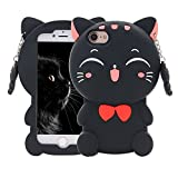 iPhone 6 6S Case, Maoerdo Cute 3D Cartoon Black Plutus Cat Lucky Fortune Cat Kitty with Bow Tie Silicone Rubber Phone Case Cover for Apple iPhone 6 / 6S 4.7 inch