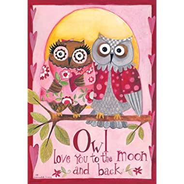 Owl Love You  - Happy Valentines Day - Double Sided GARDEN Size Decorative Flag 12 X 18 Inches