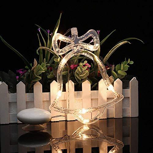 SuperglockT Saugnapf Fensterlicht LED Fensterbild Weihnachtsbeleuchtung 8 LEDs Glocken Stimmungslicht batteriebetrieben Fenstersilhouette Weihnachtsschmuck Kinderzimmer Dekobeleuchtung (1 Stück)