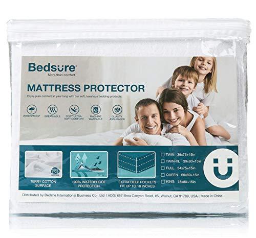 Bedsure 100% Waterproof Mattress Protector Queen Size (60 x 80 inches) - Terry Cotton Hypoallergenic Mattress Cover, 18 Deep Pocket,...