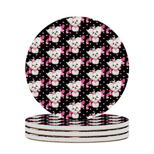 Posavasos para bebidas absorbentes de cerámica con base de corcho para perros y corazones rosados, posavasos redondos para inauguración de la casa, juego de 4 (4 pulgadas)