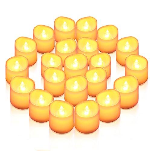 AMIR LED Kerzen, 24 LED Flammenlose Kerzen, Weihnachten LED Teelichter, Elektrische Teelichter Kerzen für Halloween, Weihnachten, Party, Bar, Hochzeit (Flicker Gelb)
