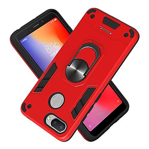 FAWUMAN Hülle für Xiaomi Redmi 6 mit Standfunktion, PC + TPU Rüstung Defender Ganzkörperschutz Hard Bumper Silikon Handyhülle stossfest Schutzhülle Case (Rot)