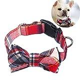Egurs Collar de Perro Ajustable Corbata de Perro Hecha a Mano con Arco Collar Mascota Traje de Navidad Rojo