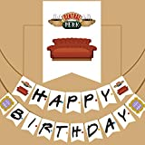 Pancarta de fiesta de cumpleaños con texto en inglés'Friends TV Show', para decoración de fiestas