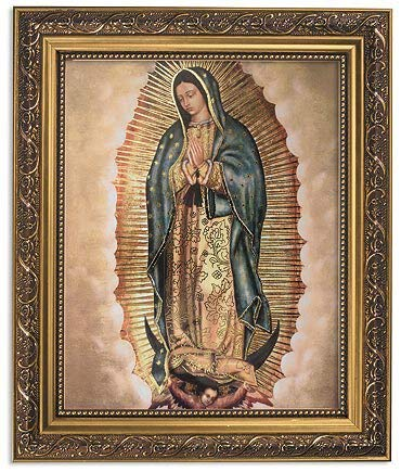 Gerffert Collection Our Lady of Guadalupe Framed Portrait Print, 13 Inch (Ornate Gold Tone Finish Frame)