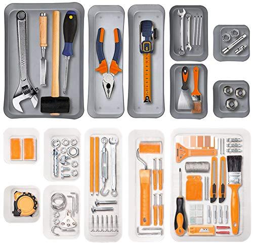 Yesland 14 Stück Schreibtisch-Schubladen-Organizer – Kunststoff-Trenner, Aufbewahrungsbehälter, Behälter & Büro-Schubladenteiler für Büro, Küche, Badezimmer, Make-up (grau, weiß)