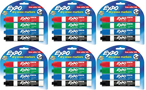 Expo 80174 Low Odor Chisel Point Dry Erase Marker Pack, Designed for Whiteboards, Glass and Most Non-Porous Surfaces, 4 Assorted Color Markers, Pack of 6 Blisters
