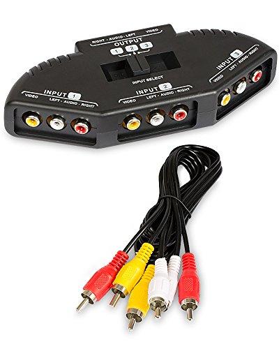 Fosmon 3 Puerto-Way Switch AV Compuesto de Audio/Video/Juego Selector RCA con Cable...