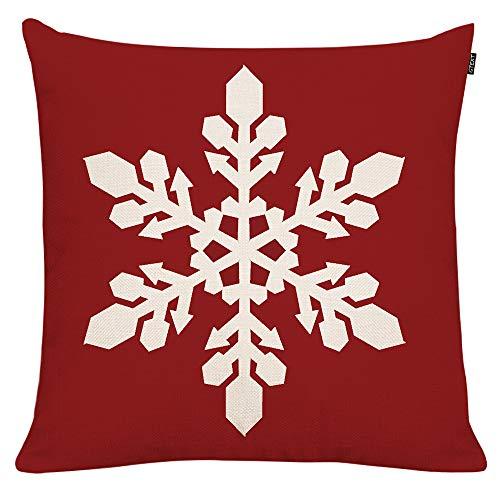 GTEXT - Funda de Almohada de Navidad con diseño de muñeco de Nieve Rojo, Funda de Almohada para sofá, decoración del hogar, Almohadas de Lino de 18 x 18 Pulgadas
