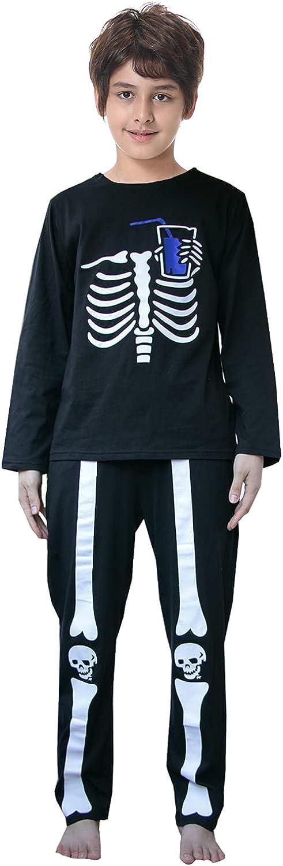 UQ Big Boys Loose Comfortable Dark Skull Pjs Cotton Long Sleeve Casual Sleepwear