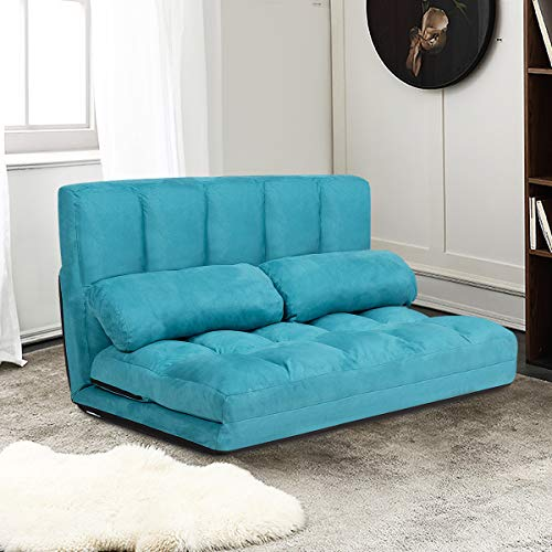 Giantex Adjustable Floor Sofa, Foldable Lazy Sofa Sleeper Bed 6-Position Adjustable, Suede Cloth Cover, Floor Gaming Sofa Couch with 2 Pillows for Bedroom/Living Room/Balcony (Blue)