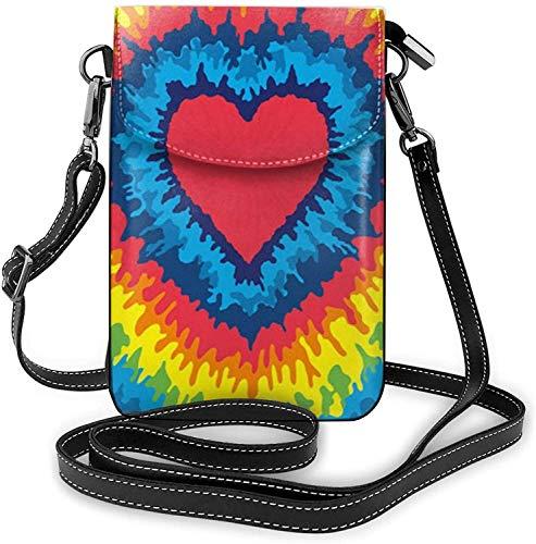 Moda Teléfono Celular Bolso Corazón Arco Iris Tie-Dyed Pequeño Crossbody Bolsas Mujeres Niña Pu Hombro Bolso Bolso