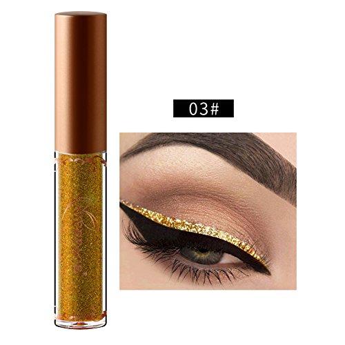 Eyeliner liquide Glitter, ROMANTIC BEAR Longue duree impermeable a l'eau Ombre a paupieres Eye-liner etincelant pour les fetes de Noel, Cosplay, mascarade