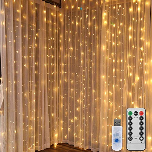 String Lights Fairy Curtain Lights - 300 LED 9.8ft Waterproof Window Curtain Twinkle Christmas Lights with Remote Control Outdoor Star Lights for Bedroom Wedding Indoor Party Decoration Warm White