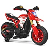 Costzon Kids Ride on Motorcycle, Battery Powered Motor Bike w/ Training Wheels, LED Lights, Forward Button, Anti-Slip Wheels, Pedal, Comfortable Seat, Rechargeable Electric Toy (Red)