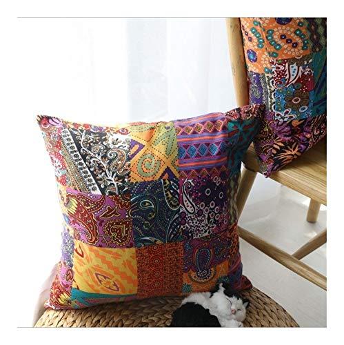JISHIYU Bordado Almohada es cómoda y Durable, fácil de Limpiar, de Doble Cara Impresión Cojín Patch Color de Costura 45cmx45cm es Adecuado for Banco Sofá Y la Cama, etc.