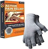 Incrediwear Fingerless Circulation Gloves Arthritis Gloves (Grey,Small)