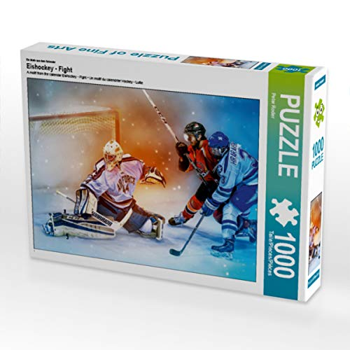 CALVENDO Puzzle Eishockey - Fight 1000 Teile Lege-Größe 64 x 48 cm Foto-Puzzle Bild von Peter Roder