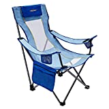 #WEJOY High Seat Folding Camping Beach Sling Chair with Arm Pillow Cup Holders Pocket Mesh Back for Outdoor Sports Pool Lawn Patio Sand Festival Party