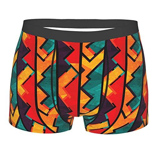 Männerunterwäsche,Grunge African Antique Mosaic Print, Boxershorts Atmungsaktive Komfortunterhose Größe S
