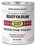 Rust-Oleum 7797502 Stops Rust Brush On Paint, 32 Fl Oz (Pack of 1), Semi-Gloss White