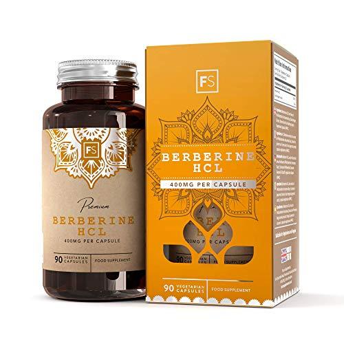 FS Berberina HCL 400mg Suplemento | 90 Natural Capsulas Veganas | Berberine Con Extracto de Pimienta Negra Para una Mejor Absorción | Con licencia ISO | Sin Gluten y Sin Gluten