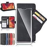 HYMY Hülle für WIKO Y61 + Schutzfolie - PU Leder Lederhülle Flip mit Brieftasche Geldbörse Card Slot Handyhülle Cover (Mit interner Hülle) Card Holder WIKO Y61-Black