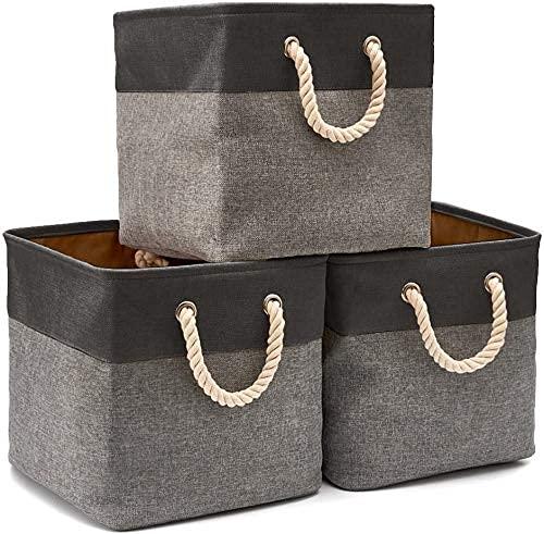 Wyxy 3 x Caja de Almacenamiento de Cesta de lavandería Plegable de algodón de Yute con asa para estantes, estanterías, habitación de los niños