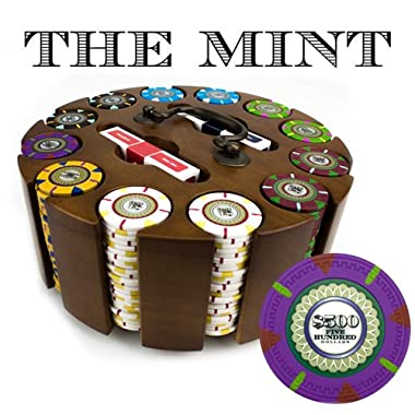 Claysmith Gaming 300-Count 'The Mint' Poker Chip Set in Wooden Carousel, 13.5gm