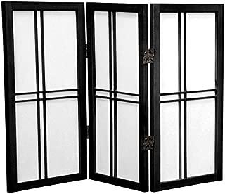 Oriental Furniture 2 ft. Tall Desktop Double Cross Shoji Screen - Black - 3 Panels