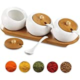 Insieme di 3 Ceramica Ciotole di Zucchero con Bamboo Lid E Spoon,Vassoio di Legno Barattoli di Spezie 200 Ml,Barattoli di Spezie Barattoli di Spezie per Home Cucina