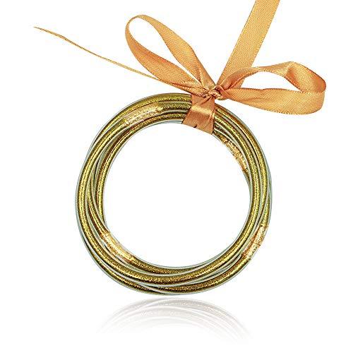 Glitter Jelly Bangle Bracelet Set (Gold)